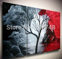 Hand Painted Landscape Oil Painting On Canvas White Black Red Modern Art Home Decoration 3 Panels Painting Free Shipping