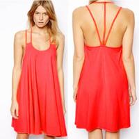 Sexy Dress Ladies Chiffon Backless Spaghetti Strap Party Cocktail Mini Dress S-XL Free&Drop Shipping