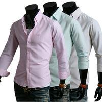 New 2014 Fall Winter Men Shirts Fashion Pure Colors Men Slim lapel Shirt Free Shipping Promotions