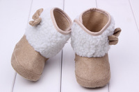 Girl Baby Shoes Bow High Cotton Warm  Boots Skid-proof Prewalker Shoes Free&Drop Shipping