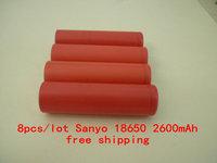 8pcs/lot Original 18650 ICR18650- 2600mAh Li-ion 3.7v Battery For Sanyo +Free Shipping