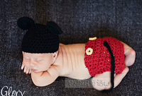 NEW Retail 1Set Mickey Designs Baby Crochet Photography Props Infant Costume Photo Props Outfits Newborn Crochet Beanies&pants