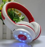 Flash led light sports headset  Wireless TF card support fm radio head phone Folding headband computer headphoe with microphone