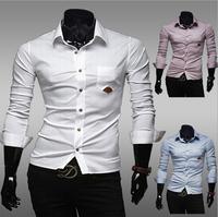 New 2014 Fall Winter Men Shirts Fashion Pure Colors joker Men lapel Shirt Free Shipping Promotions