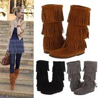 Tassel Boots 2015 New Fashion Winter Snowboots Genuine Leather Women Boots Teenis Winter Shoes Chestnut