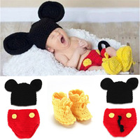 Retail 1Set Mickey Designs Baby Crochet Photography Props Infant Costume Outfits Newborn Crochet Beanies pants shoes