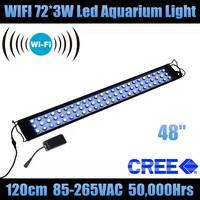 "Wifi 48"" 72*3W bomba de ar aquarium accessories aquarium lamp+90 degree 10000K,14000K,18000K,460nm,453nm,3WIR,5WIR"