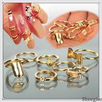 7 pcs/lot Punk Fashion Heart Bowknot Skull Band Midi Mid Nail Finger knuckle rings women Gold Stacking Ring Set wholesale