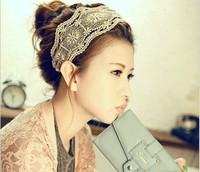 South Korea style Hair accessories new hollow retro flower lace headband fashionista headwear