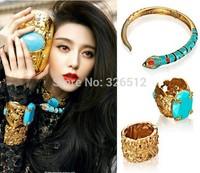 1set womens fashion Brazilian Gold Plated fresh enamel snake resin gem stone bangle Necklace Sets jewelry Gypsy Ethnic Tribal