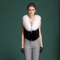Zijindiao Women's Genuine Real Rex Rabbit Fur Vest with Large Fox Fur Collar Z8407