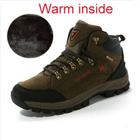 leather with fur men trekking shoes mountaineering hiking shoes brand men's walking shoes outdoor shoes size39-44