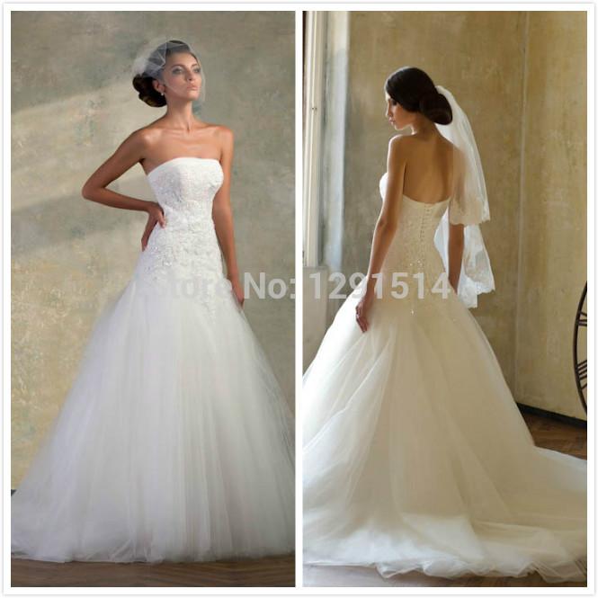 Hot Sale A-Line Newest Appliques Vestido De Noiva Garden Romantic Casamento Fashion Long Tulle Latest Mariage Wedding Gowns(China (Mainland))