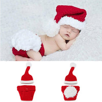 Retail 1sets Christmas Costume Hat& Diaper Pants Set Newborn Baby Photo Props Toddler Santa Photography Props Drop shipping