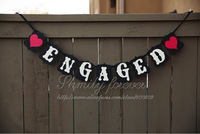 NEW Romantic Rustic Vintage Wedding / Engagement Party Banner Bunting with 2 hearts