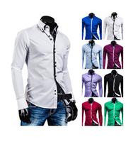 New 2014 Fall Winter Men Shirts Fashion double Collar Design Men lapel Shirt Free Shipping Promotions