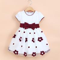 2014 Children Party Dress Kids Wedding Dress Baby Girls' Prom Dress High Quality Big Bow Baby Girl Party Dress