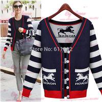 Fall 2014 new women's clothing stripe long sleeve knit joker knitting cardigan jacket coat