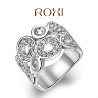 ROXI fashion new arrival genuine Austrian crystal Delicate Ms dinner white Gold plated ring 2014 wholesale jewelry