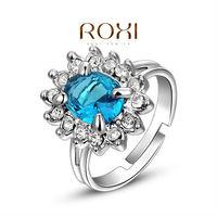 ROXI Luxury white Gold Plated Sapphire women Bridal Crystal Ring wedding Jewelry wholesale