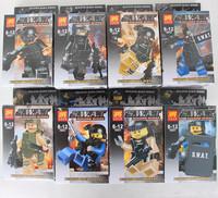 New style LELE 78057 8 pcs/lot anti-explosion police mini figure S.W.A.T minifigure armed police block swat soldier figures