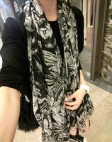 Brand scarf Hong Kong happyatomi angel skeletons crosses print Oversized scarf shawl silk scarf  women free shipping  ft2