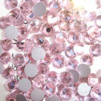 SS6(1.9mm) 1440pcs Glitter 3d Nail Art Rhinestones Glass Decorations Non Hot Fix Flatback DIY Nail Tools Crystal Lt.Rose 022