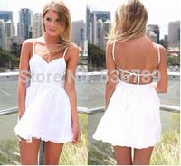 Free Shipping  2014 New Arrival Women Sexy Deep V Backless White Spaghetti Strap Ruffles Dress Cute Female Short Chiffon Dress