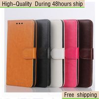 High Quality Oil Crazy Horse Leather Case with Card Slot & Holder for Samsung Galaxy Note 4 Free Shipping UPS DHL EMS CPAM HKPAM