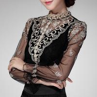 2014 Autumn Women's Gauze Blouse Slim Long-sleeve Stand collar Beading Cutout Lace blouse Shirt Lace top Blusas