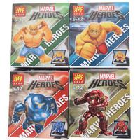 Lele & Marvel Heroes Action Figures blocks toy 4pcs/lot 7CM large superman Building Blocks thing Iron Man The Avengers toys