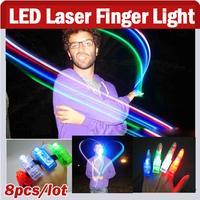8pcs/ Lot, Multi-Color Bright LED Laser Finger Light Finger Beam Magic Finger Lights For Birthday,Christmas Party KTV Bar Gift