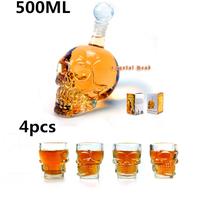 4 pcs/Pack Crystal Skull Head Vodka Whiskey Shot Glass+1 pc Crystal Head Skull Bottle 500ml,Free Shipping