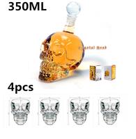4 pcs/Pack Crystal Skull Head Vodka Whiskey Shot Glass+1 pc Crystal Head Skull Bottle 350ml,Free Shipping