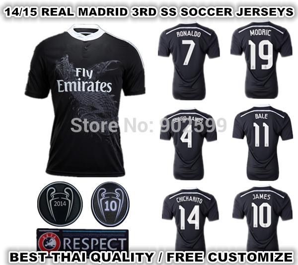 14/15 real madrid 3rd away black ss best quality fans version ronaldo bale Sergio Ramos JAMES Chicharito soccer football jersey(China (Mainland))