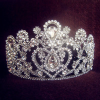 2014 New Year Vintage Oversize Rhinestone Bridal Tiara Wedding Hair Accessories Crystal Pageant Crowns Wedding Tiaras and Crowns