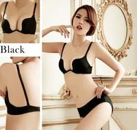 New 2014 Sexy Brand Embroidery Bra Brief Sets Deep U Push Up Bra Set Women Seamless Underwear Set brassiere Hot Blue Black