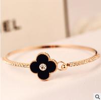YTSL62 Fashion Brand Real Gold Plated Women Bracelets Bangles Crystal Cuff Bracelet Plum Flower Charm Pulseiras Femininas Party