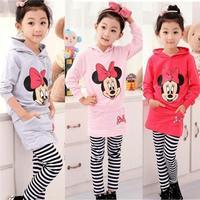 Hot sale Girl's clothing sets cartoon girls long sleeve t-shirt + stripe pants 2-pieces suit Little Spring GTJ-T0323