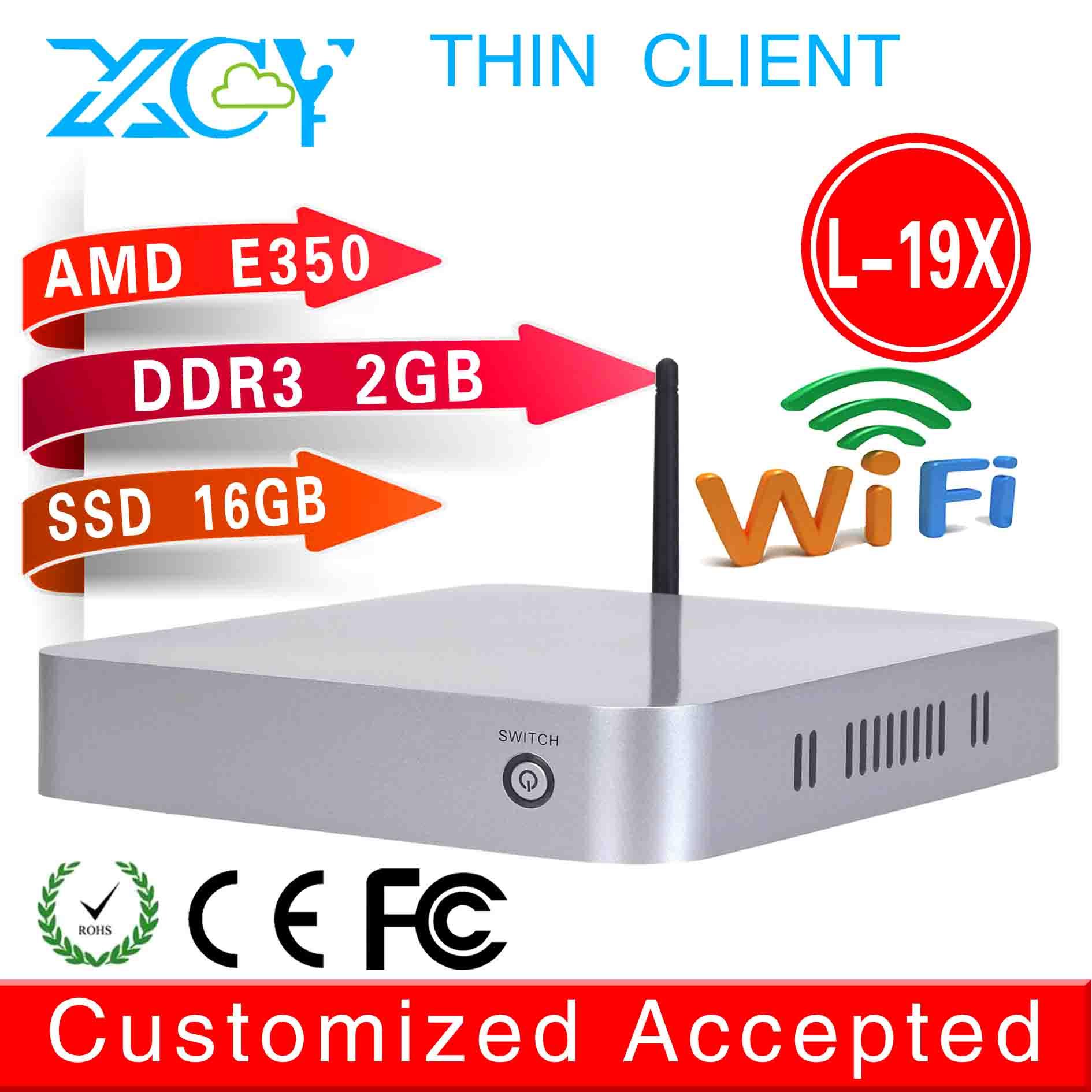 small body best quality low heat mini computer l-19x mini industrial pc AMD E350 network fan desktop 2g ram 16g ssd thin client(China (Mainland))