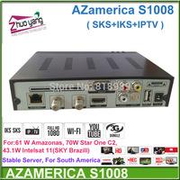 Hot Azsky skIII 2014 azamerica s1008 Brazil World Cup set top box IKS+SKS+IPTV+3D azamerica s1001 s1005 azbox titan decoder