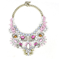 2014 luxury brand jc jewelry necklace pink resin stone water drop wings necklace for women