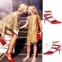 Newest top quality Orign Brand Designer Women's Rivets Genuine Leather 6.5cm High Heels, valentin heels free DHL/EMS US/EUROPE