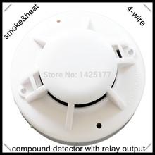 Питается постоянным током 4-Wire дым / тепловой извещатель с реле выход системы сигнализации