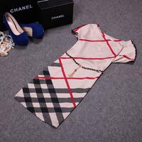 Free shipping! 2014 European summer women's fashion short sleeve plaid leopard OL silk slim  dress