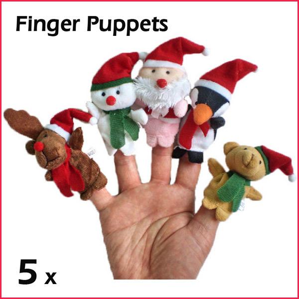 5pcs Lovely Christmas Santa Claus Snowman Cartoon Velvet Animal Finger Puppets Set Baby Game Talking Props Plush Toy(China (Mainland))