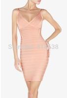 free shipping 2014 High Quality new arrival v neck orange pink Bandage Dress  Celebrity dress wholesale dropshipping