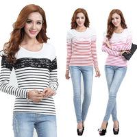 OVO!fashion 2014 new casual striped slim long sleeve t shirt Lace stitching long sleeves render cotton shirt F.SZ.W.256