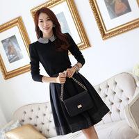 OVO!2014 new fashion korean style elegant slim peter collar long sleeve pleated dress show thin women dressF.LYQ.518