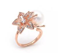 Women's opening ring.Beautiful flowers & 18 KGP (white) rose gold & pearl & rhinestone & average size ring.Free shipping + gifts